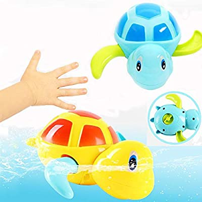 Ecobene 3pcs Kids Bath Toys Swimming Turtle Toy Wind Up Chain Bathing Water Toy for Baby Toddler (Random Color): Toys & Games