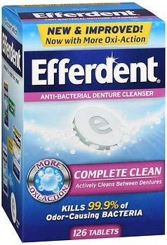 Efferdent Anti-Bacterial Denture Cleanser, Tablets - 126 Each, Pack of ()