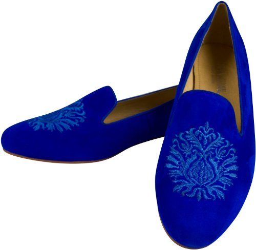 "Leder Mokassins ""Alessia"" Blau, mit Wappen verzierte Slipper, bestickte Trotteur"