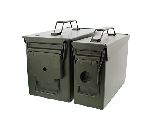 Redneck Convent 30 and 50 Cal Metal Ammo Can 2-Pack - Military Army Solid Steel Holder Box Set for Long-Term Shotgun Rifle Ammo Storage