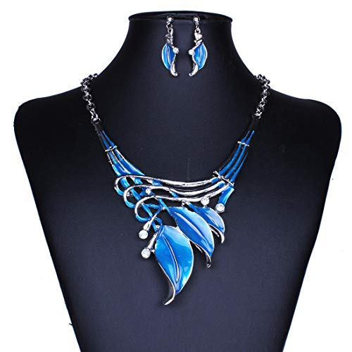 Women Jewelry Jewelry Set - European Leaves Enamel Inlay Crystal Necklace Earrings Jewelry for Women - Blue -1 X Necklace 1 Pair of EarringsNotice: 1.Due to the difference between different (Blue Enamel Due)