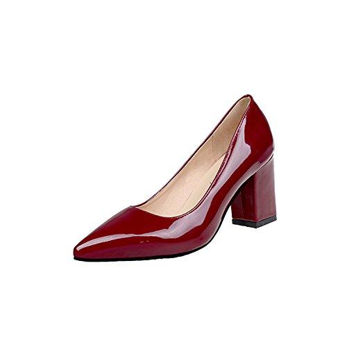 alta 46 rojo áspero la negrita de mujer temporadas Heel boquilla zapata Shoes con la luz zapatos la 33 de punta de Vino metros Sugerencia gqx70tdg