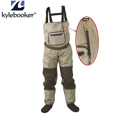 Stone Wordd Chest Waders Outdoor Fly Fishing Stocking Foot,Waterproof and Breathable Chest Waders with one Buckle Accidently Rope Kits 3