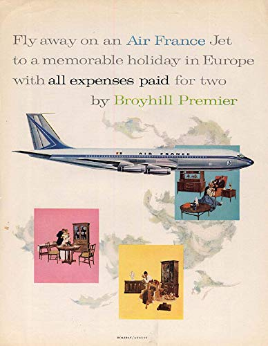 - Fly away on an Air France Boeing 707 by Broyhill Furniture ad 1960 H