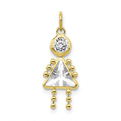 10k Yellow Gold April Girl Birthstone Pendant Charm Necklace Kid Fine Jewelry Gifts For Women For Her
