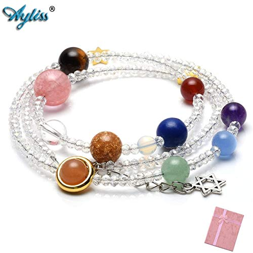 Gabcus New Natural Multilayer Solar System Bracelet Universe Galaxy The Nine Planets Star Spacer 3mm Glass Beads Necklace - (Metal Color: White)