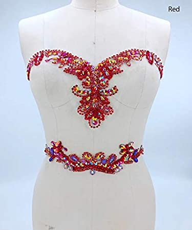 Red Rhinestone Applique with Crystal Trim 3D lace Patches Great for DIY Neckline Bodice Belt Wedding Bridal Prom Dress A3