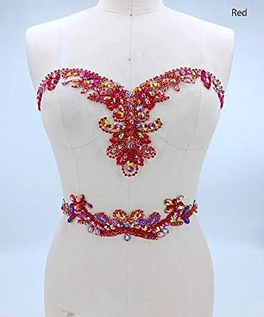 Strass applique con cristallo Trim scollo toppe ideale per DIY 3D corsetto cintura per cerimonia nuziale abito A3 Red bridallaceuk