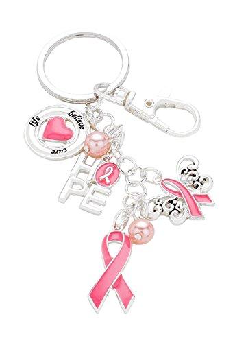 Pink Ribbon Key Ring (Rosemarie Collections Women's Pink Ribbon Keep Hope Alive Keychain Handbag Charm)