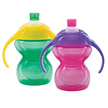 Munchkin Click Lock Bite Proof Trainer Cup, Green/Pink, 7 Ounce, 2 Count