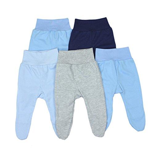 Baby Hose mit Fuß Stramplerhose Jungen 100% Baumwolle Strampelhose Mädchen Schlupfhose im 5er Pack, Farbe: Junge, Größe: 62