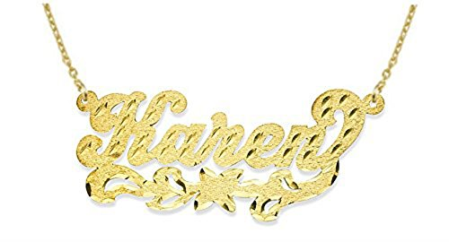 Rylos Personalized Satin Finish Diamond Cut Nameplate Necklace 14K 14K White or 14K Yellow Gold. Special Order, Made to Order. ()