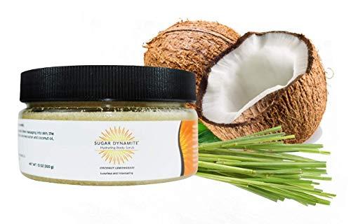 (Sugar Dynamite Body Scrub with All Natural Vegan Sugar, Raw Shea Butter and Organic Coconut Oil to Exfoliate, Hydrate and Moisturize Dry Skin - Coconut Lemongrass 12 oz. Jar)