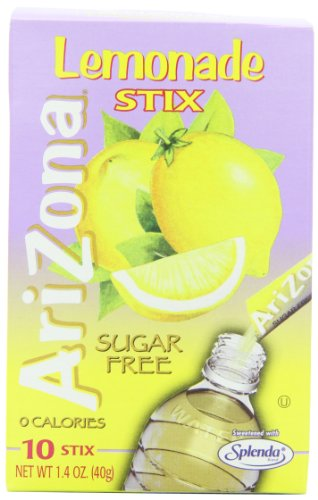 Sugar Free Lemonade - AriZona Sugar Free Lemonade, 10 Count Per Box (Pack of 6), Low Calorie Single Serving Drink Powder Packets, Just Add Water for a Deliciously Refreshing Iced Tea Beverage