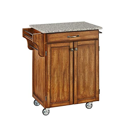 (Create-a-Cart Warm Oak Kitchen Cart with Salt and Pepper Granite Top by Home Styles)