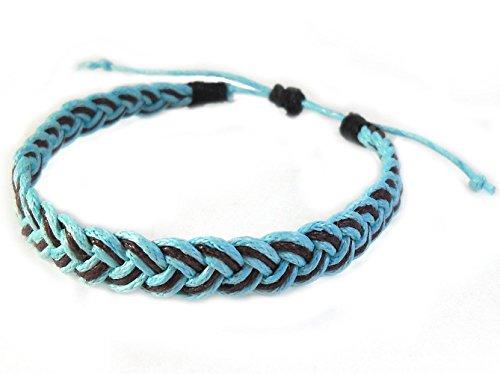 Rare Unique Asian Art Handmade Thai Buddha Fashion Style Brown Azure Cotton String Wristband Bracelet