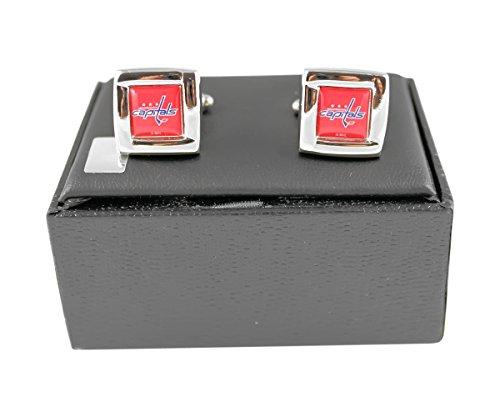 NHL Washington Capitals Team Logo Engraved Square Cufflinks Gift Box Set
