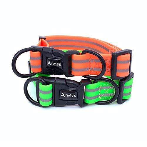 Ammos Waterproof Dog Collar, Easy to Clean & Smell-Proof Active Dog Collar,Coated Nylon Webbing with Reflective Stripe (Medium, Orange) (Nylon Coated Webbing)