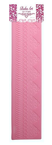 BakeArt Silicone Extra Long Wedding Cake Lace Mold/Mat for Icing Lace, Sugar Lace Decorating for Gum Paste, Fondant, Sugar Art Baking Mould - Geometric Pattern by BakeArt