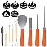 E-TS 8 Packs Halloween Pumpkin Carving Kits Premium Heavy Duty Stainless Steel Pumpkin Carving Tools Easily Carve Sculpt Halloween Jack-O-Lanterns
