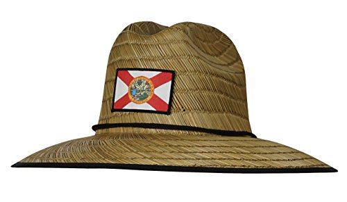 Hook & Tackle Men's Florida Lifeguard Fishing Stretch Fit Straw Hat Natural - Ml Hat Straw