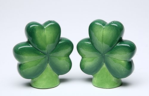 Cg 10494 Four-Leaf Clover & Three-Leaf Shamrock Salt & Pepper Shakers