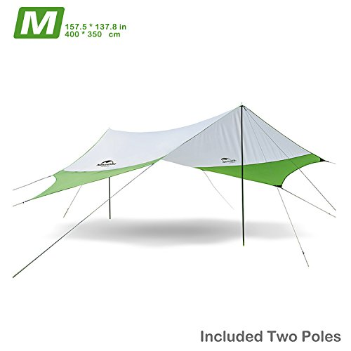 Naturehike Camping Tarp Beach Tent Shade Sun Shelter Awning Canopy with Poles - Lightweight Portable Waterproof Sun-proof 204.7 x 181'' for Hiking Fishing Picnic (Green&Grey - M)