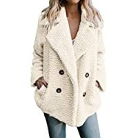 Lelili Clearance Women Warm Thick Coat Plus Size Plush Long Sleeve Lapel Button Up Parka Outwear Jacket Overcoat with Pockets