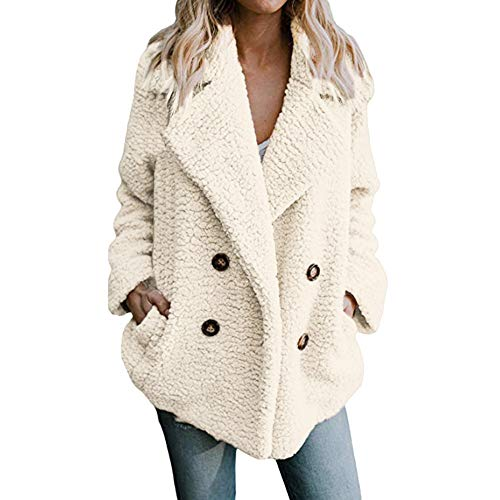 CUCUHAM Women's Casual Jacket Winter Warm Parka Outwear Ladies Coat Overcoat Outercoat(White ,US:4/CN:S)