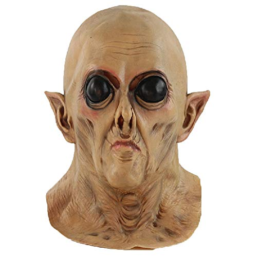 Really Scary Halloween Faces (OxoxO Alien Mask UFO Extra Big Eyes Horrible Terrestrial Party ET Rubber Full Masks for Halloween Party Cosplay Scary Face)
