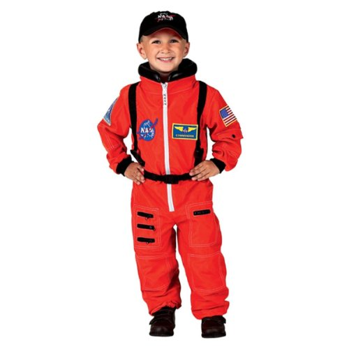 [Aeromax Jr. Astronaut Suit with Embroidered Cap and NASA patches, ORANGE, Size 6/8] (Kids Costumes)