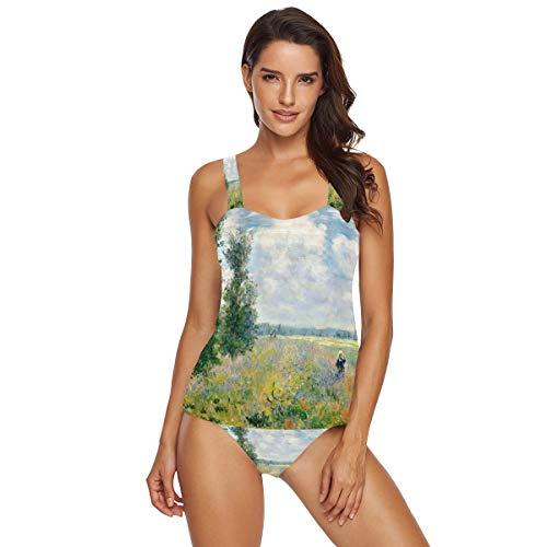 AHOMY Women 2-Pieces Bikini Sets Monet's Poppy Field Argenteuil Halter Swimsuits Swimwear Beachwear