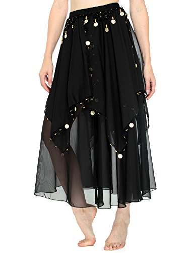 Simplicity Enchanting Bellydancer Skirt in Soft Multi Layered Chiffon, Black
