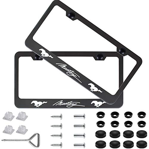 (Sparkle-um 2Pcs Newest Matte Aluminum Alloy Ford Mustang Logo License Plate Frame,with Screw Caps Cover Set,Applicable to US Standard car License Frame, for Ford Mustang(Matte Black))
