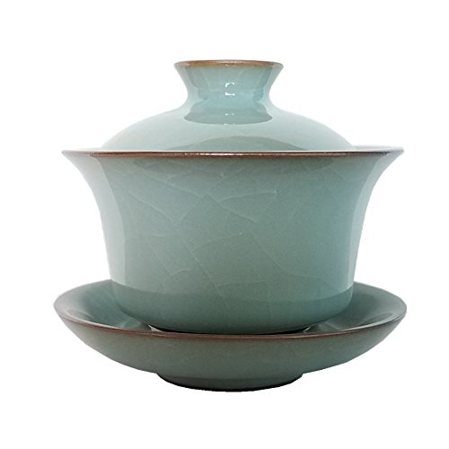 Gaiwan Kung Fu Teacups with Lid 5-Ounce Teacup and Saucer Set Glazed Crack Porcelain Chinese Celadon(Grey Grack) from Handmade Celadon