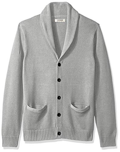 Goodthreads Men's Soft Cotton Shawl Cardigan Sweater, Heather Grey, Large