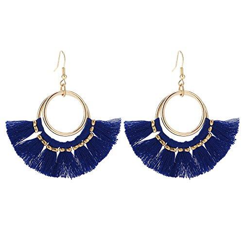 l Hoop Earrings Bohemian Gold Dangle Fringe Drop thread Tiered Layered Earring Royal Blue for Women Teen Girls B078RB ()