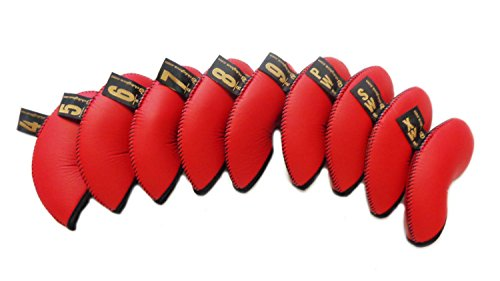 Gloveskin 9pc Premium Headcovers (#4-9, pw, sw, xw) OS (Red) (Club Glove Iron Headcovers)