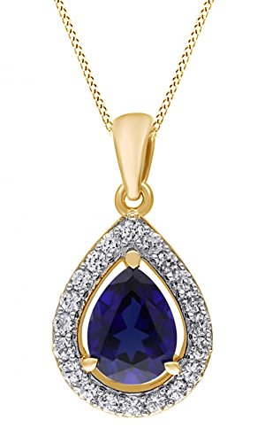 Blue & Simulated White Sapphire Pendant Necklace 14K Gold Over Sterling - Sapphire Motif Earrings