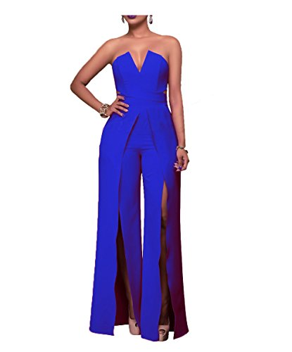 Vilover Womens Strapless Cocktail Dress Wide Leg High Slit Maxi Rompers Semi Formal Jumpsuit (L, Royal Blue) -
