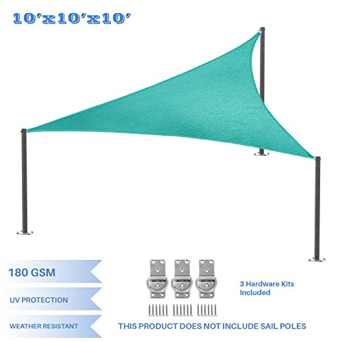 E&K Sunrise 10' x 10' x 10' Turquoise Green Equilateral Triangle Sun Shade Sail - Included Pad Eyes - Outdoor Shade Cloth UV Block Fabric - 10' Deck Scrub Brush