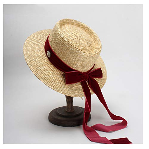 Striped Dome - XW_H Women's Packable roll up Floppy Hat Wide Brim Sun Flat Cap with Two-Color Striped Decorative Dome Hat UPF50 丨Panama-Hat丨Straw Hat丨Straw Fedora hat丨Beach Hat丨Sun caps