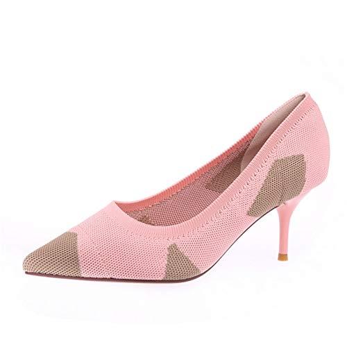 scarpe B da dolce bocca scarpe colore scarpe lavoro YMFIE alti maglia stiletto corrispondenza lavoro singole da moda traspirante superficiale tacchi Europeo RwxAZ5q7
