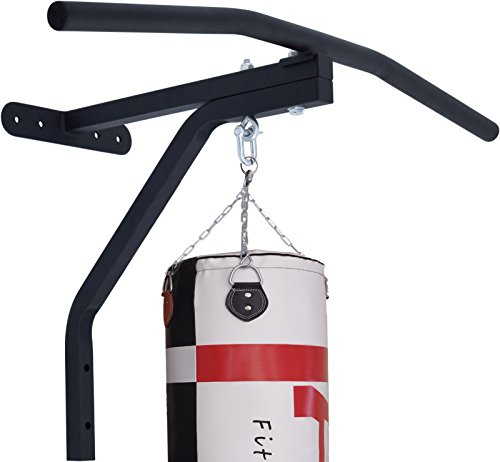 2Fit Chin Pull Up Bar with Punch Bag Bracket Wall Mounted Gym Chinning Workout