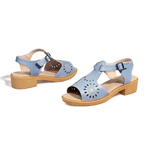 VogueZone009 Mujeres Hebilla Puntera Abierta Mini Tacón Sólido Sandalias de vestir con Metal Azul