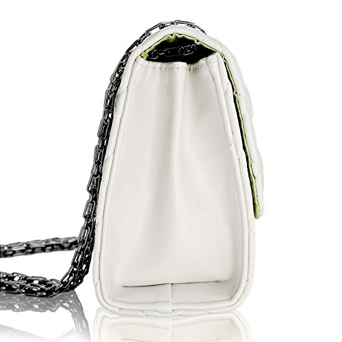 With Metal For Bag Quilted white Strap Crossbody Solarfun Chain Off Classic Purse Women Shoulder TzCB8n