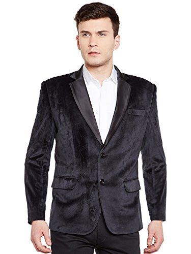 Wintage Men's Premium Velvet Notch Lapel Tuxedo Coat Blazer Jacket: Black, 3XL