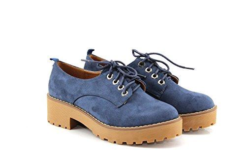 MODELISA-Zapatos Plano Plataforma con Cordones Azul