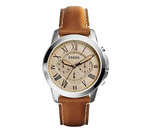 Fossil-Mens-44mm-Silvertone-Grant-Watch-with-Light-Brown-Leather-Strap