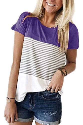ALIBIZIA Women's Loose Short Sleeve Triple Color Block Stripe T-Shirt Top M Purple ()